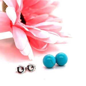 Authentic 8MM Turquoise Stud Earrings 925 Silver
